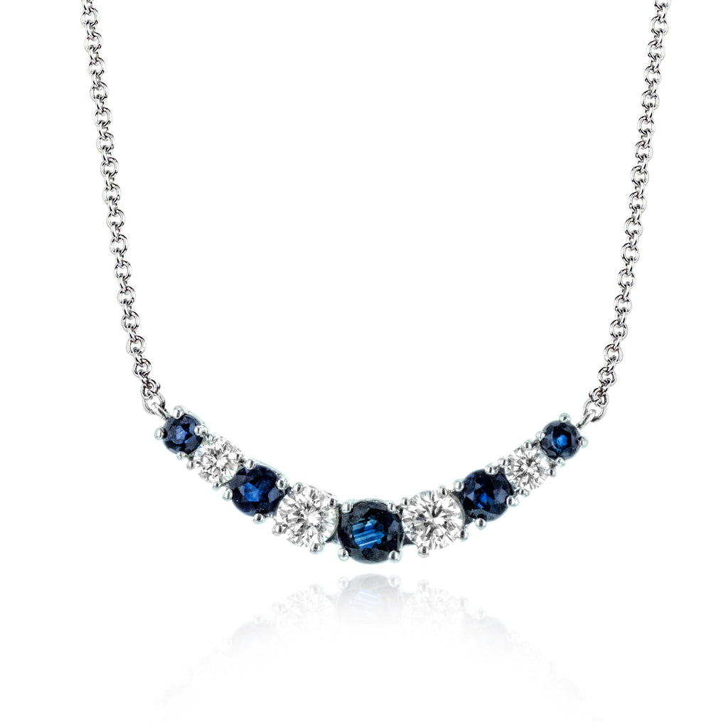 14k White Gold .28ct Diamond and .39ct Sapphire Necklace