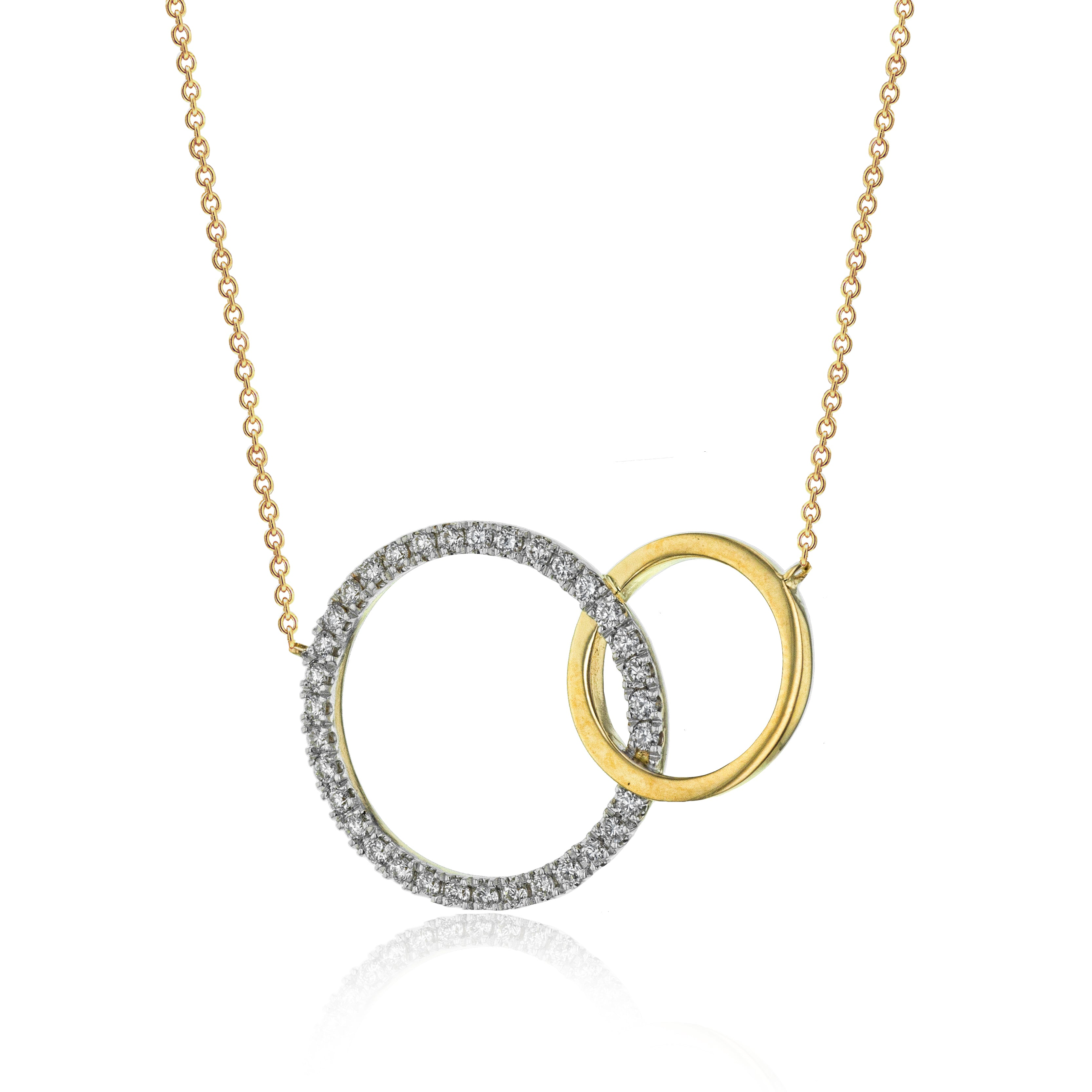 14k White and Yellow Gold .16ct Diamond Necklace
