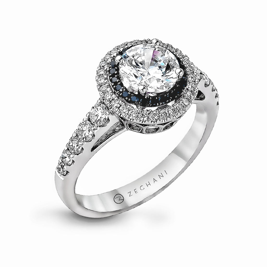 Zeghani 14k White Gold Engagement Ring 1054