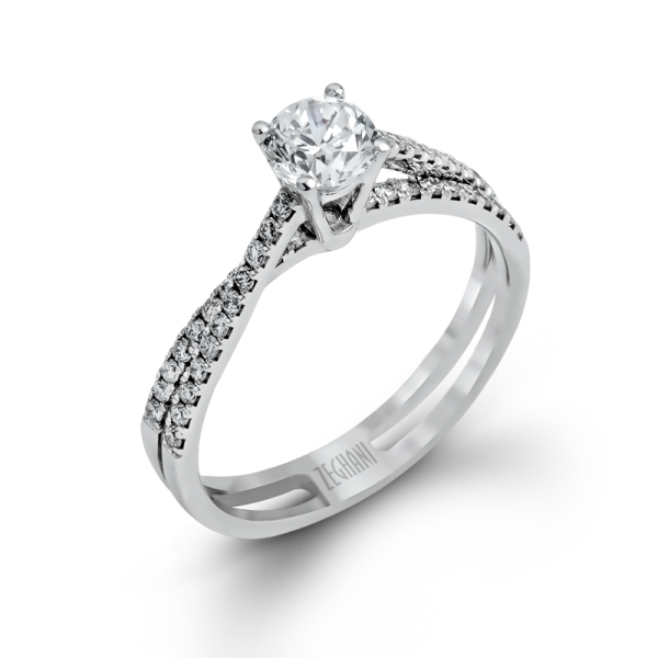 Zeghani 14k White Gold Engagement Ring 1106