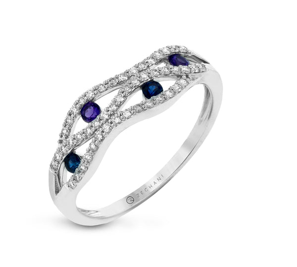 14k White Gold .18ct Diamond and Sapphire Right Hand Ring