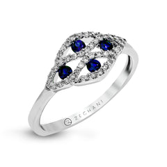 14k White Gold .14ct Diamond and .23ct Sapphire Right Hand Ring
