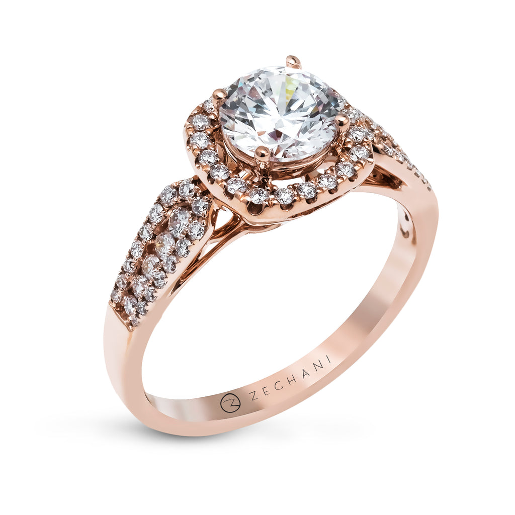 Zeghani 14k Rose Gold Engagement Ring 1133