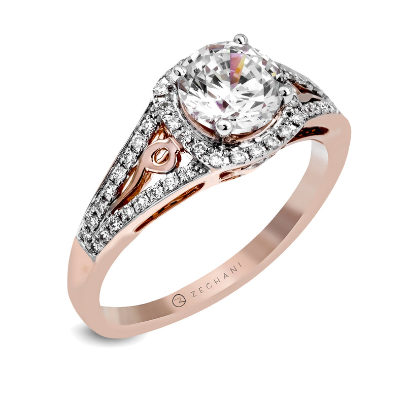 Zeghani 14k Rose Gold Engagement Ring 1137