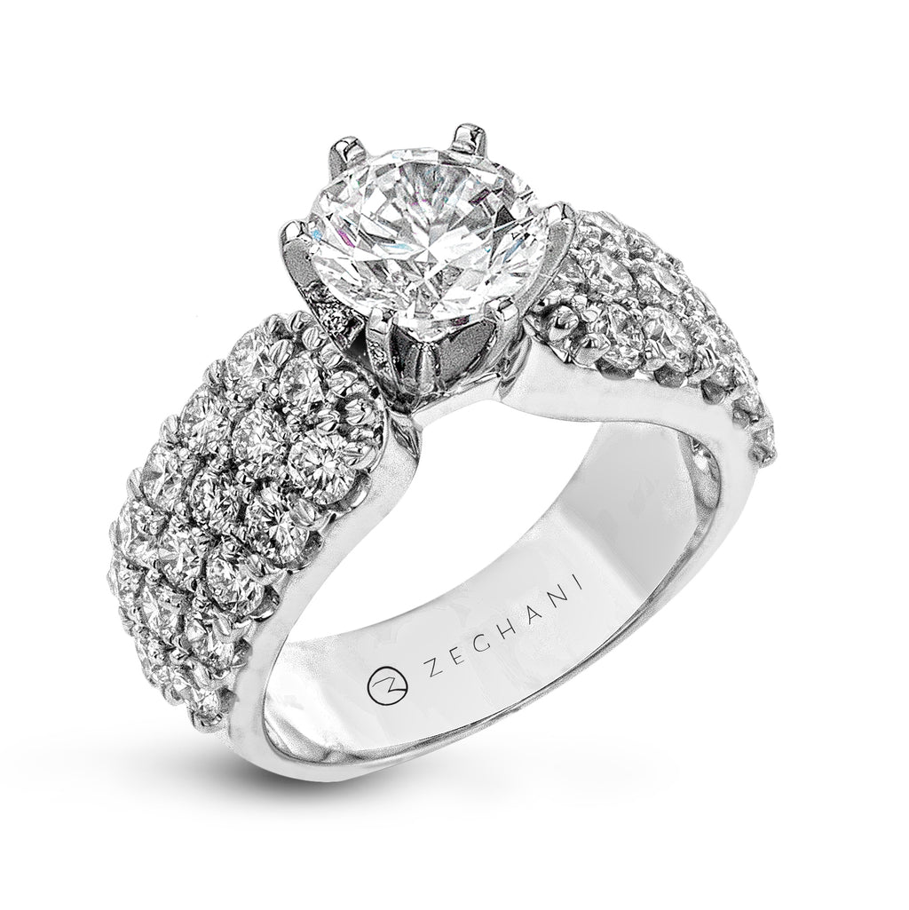 Zeghani 14k White Gold Engagement Ring 114