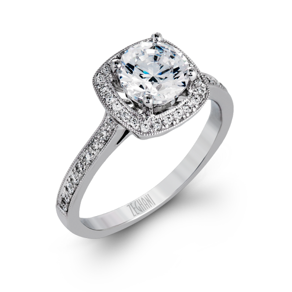 Zeghani 14k White Gold Engagement Ring 1185