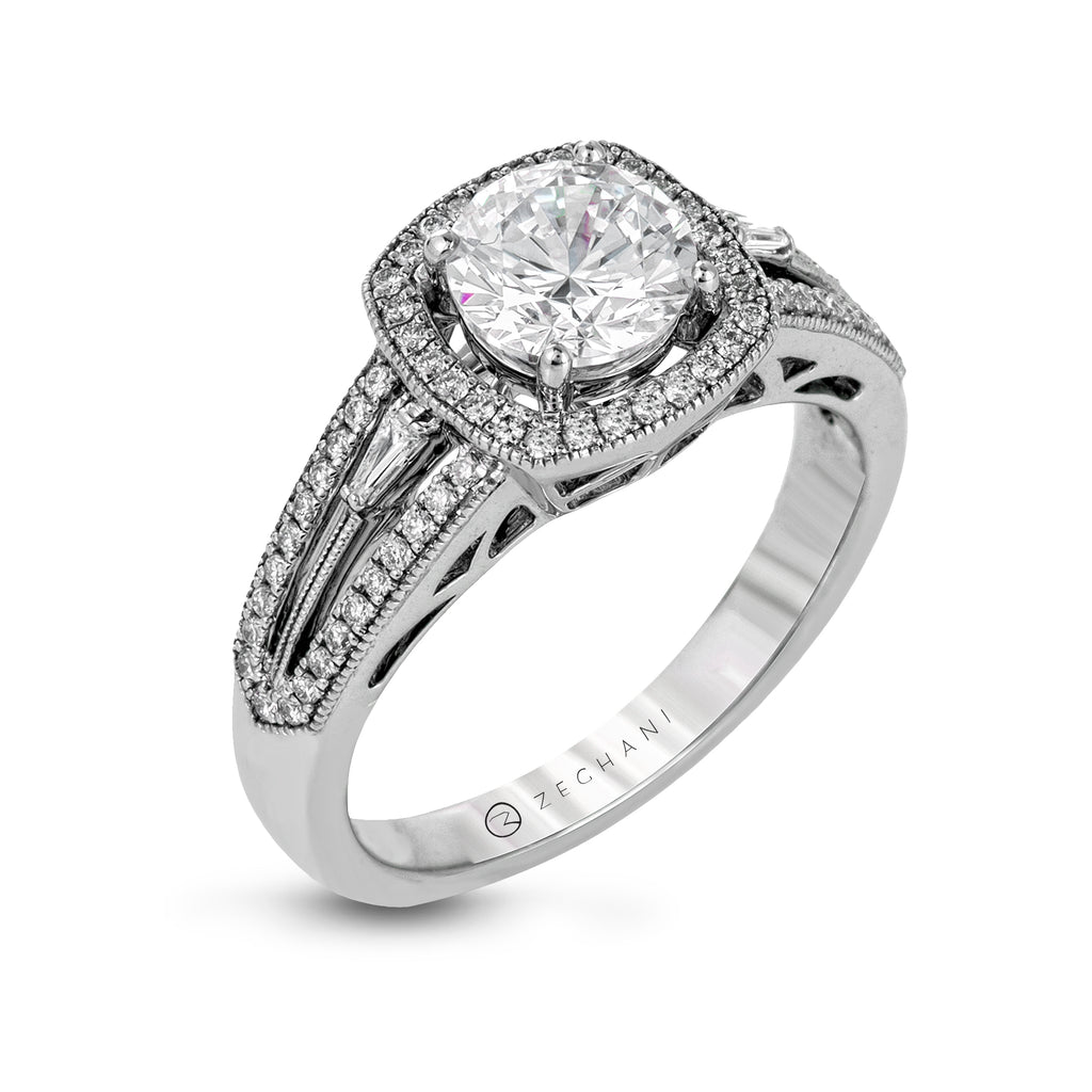 Zeghani 14k White Gold Engagement Ring 1205