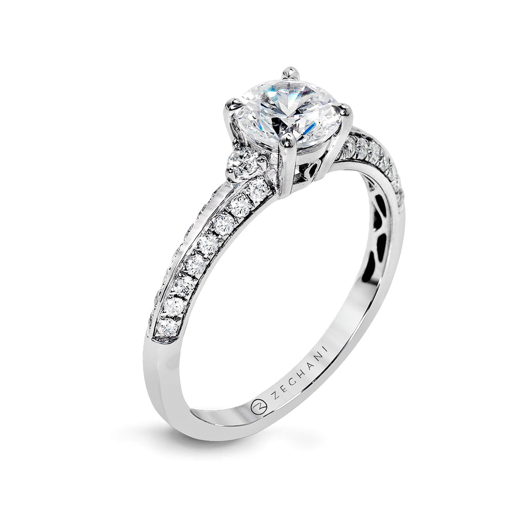 Zeghani 14k White Gold Engagement Ring 1227