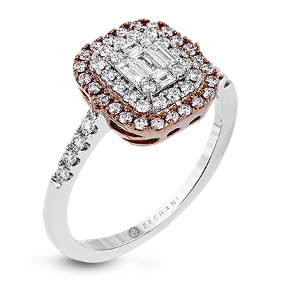 .63ct 14k White and Rose Gold Double Halo Engagement Ring
