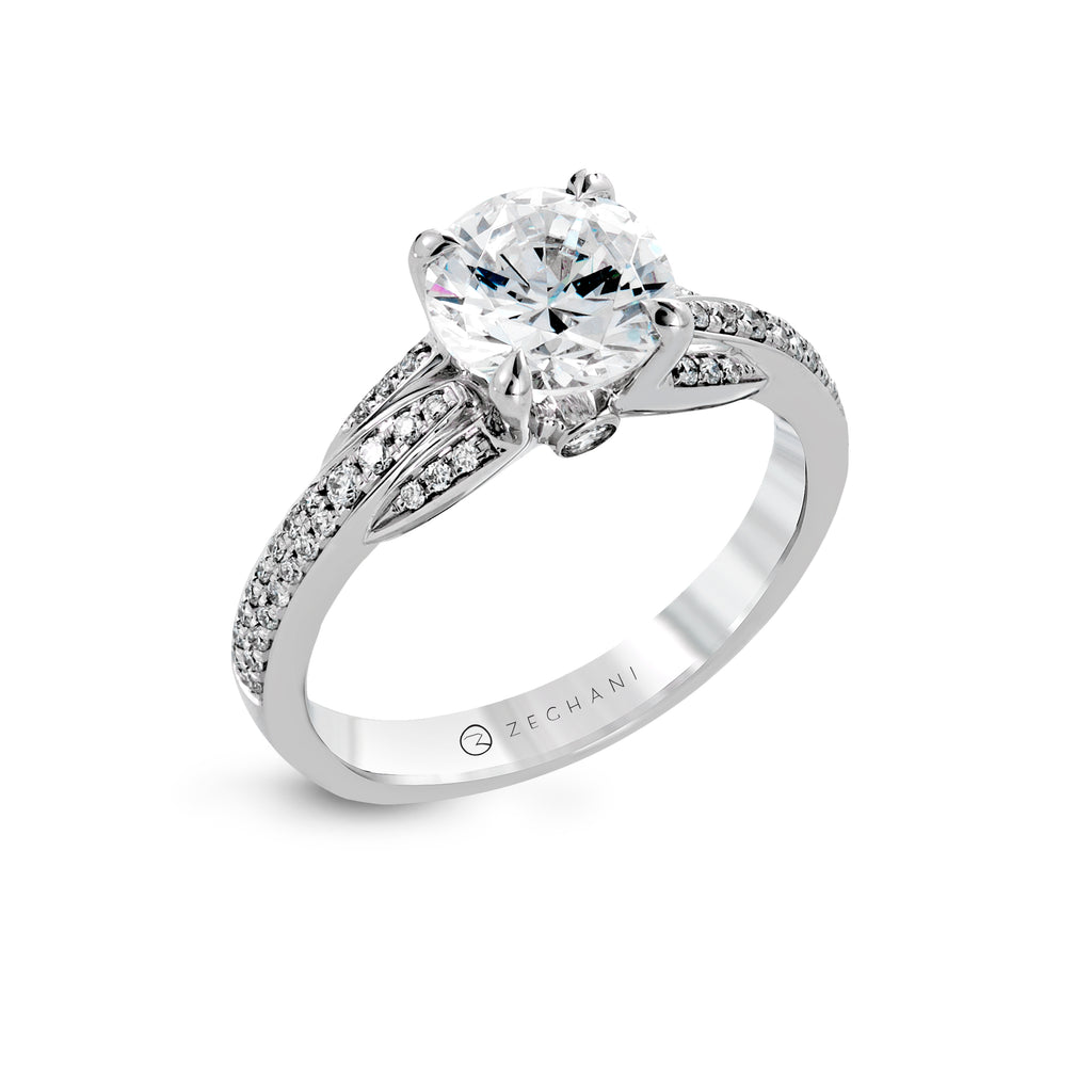Zeghani 14k White Gold Engagement Ring 1245