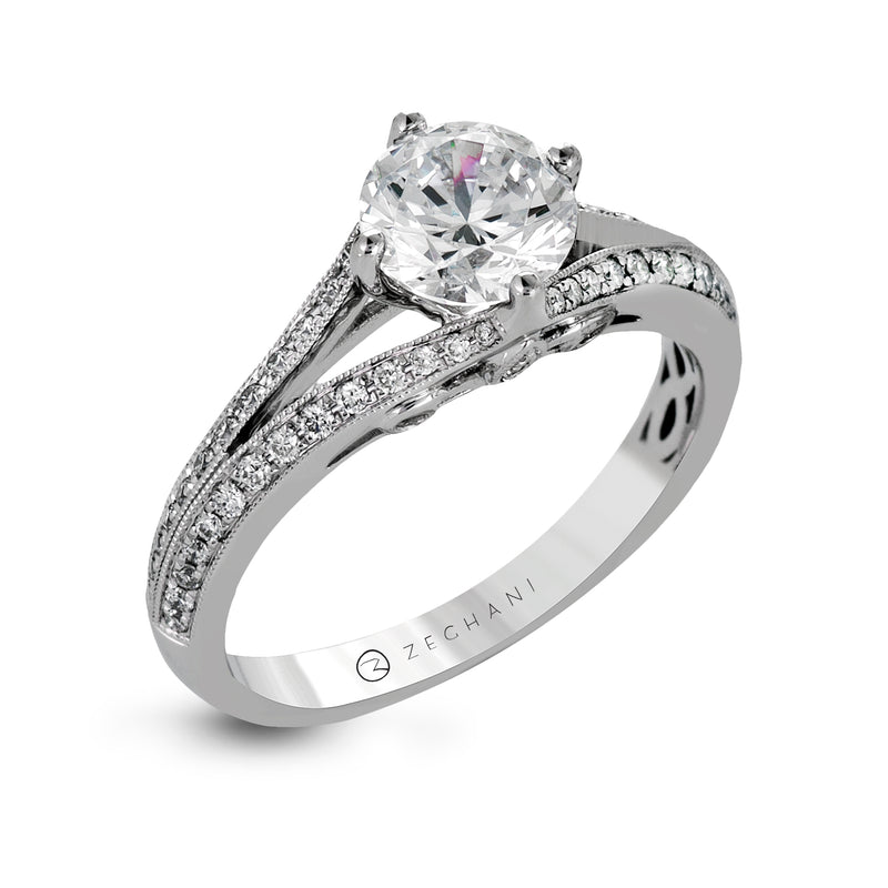 Zeghani 14k White Gold Engagement Ring 1247