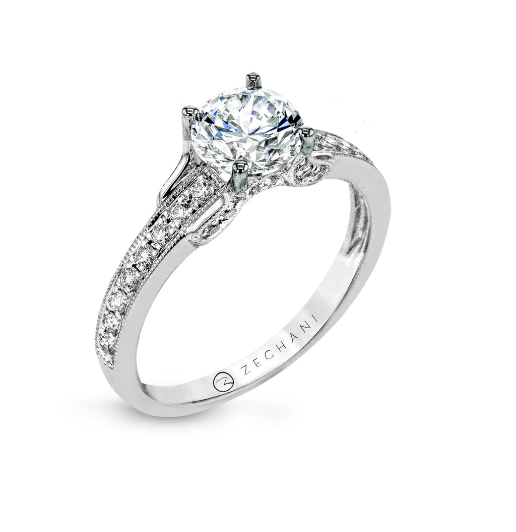 Zeghani 14k White Gold Engagement Ring 1248