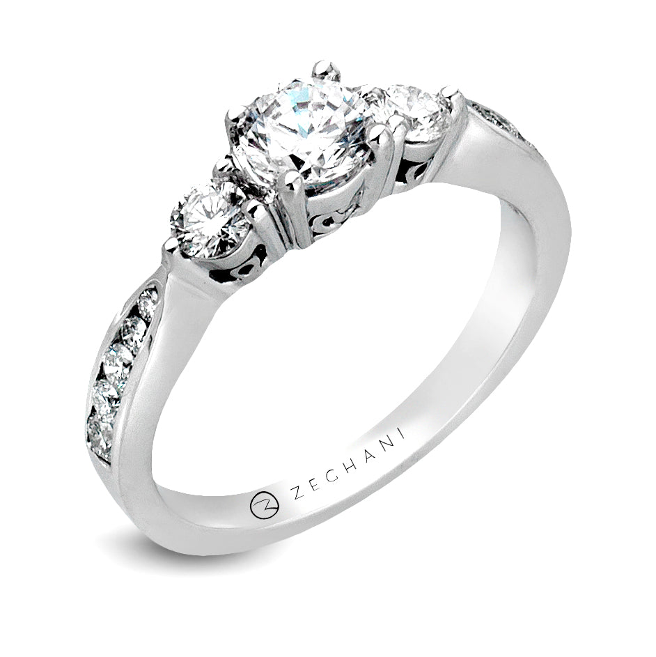 Zeghani 14k White Gold Engagement Ring 126