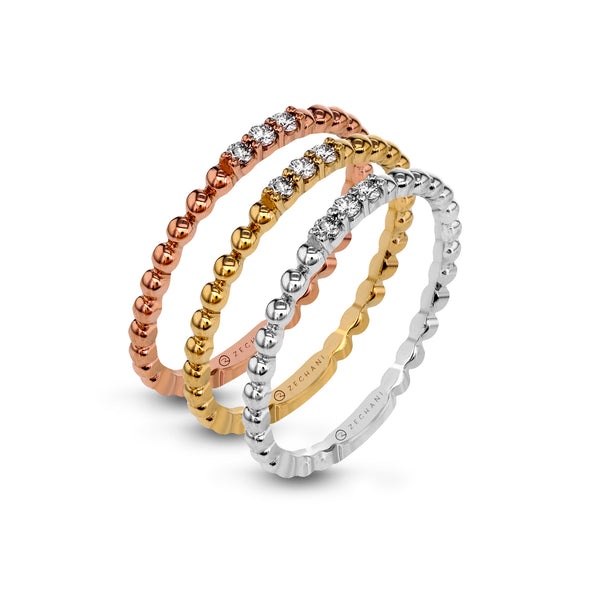 14k Gold Three-Tone .18ct Diamond Stackable Rings