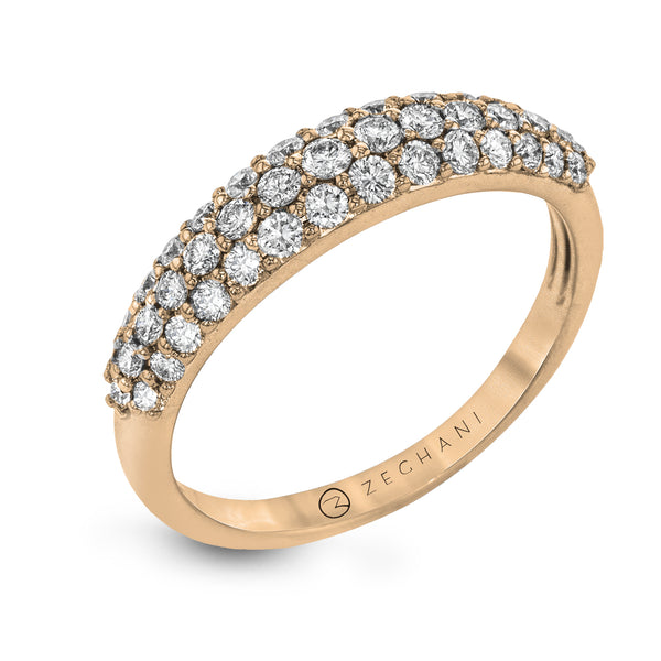 14k Rose Gold .61ct Diamond Right Hand Pave Ring