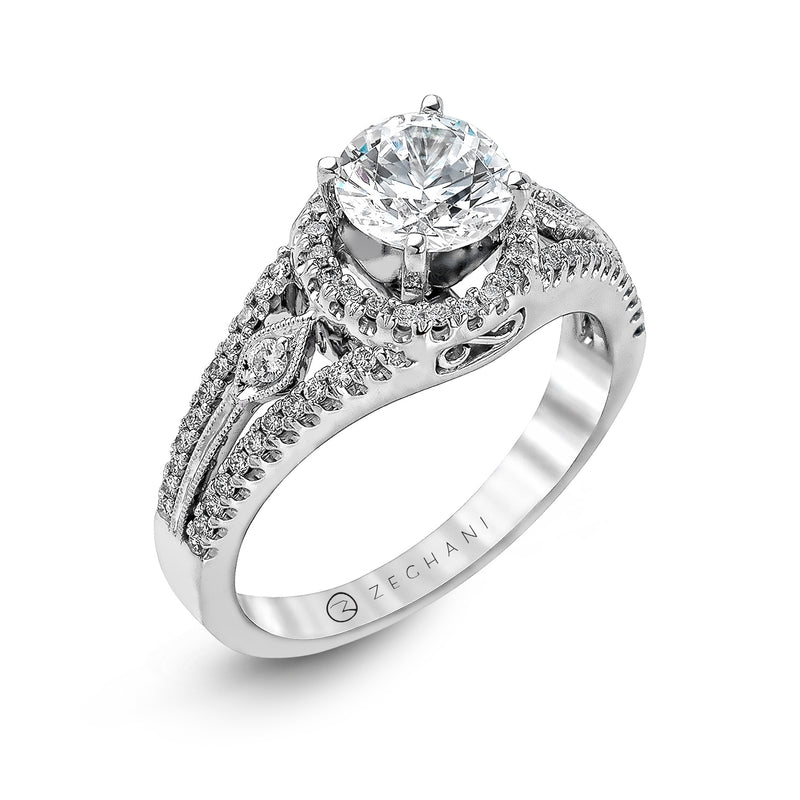 Zeghani 14k White Gold Engagement Ring 151