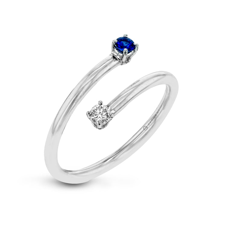14kt White Gold .07ct Diamond and .08ct Sapphire By-pass Ring