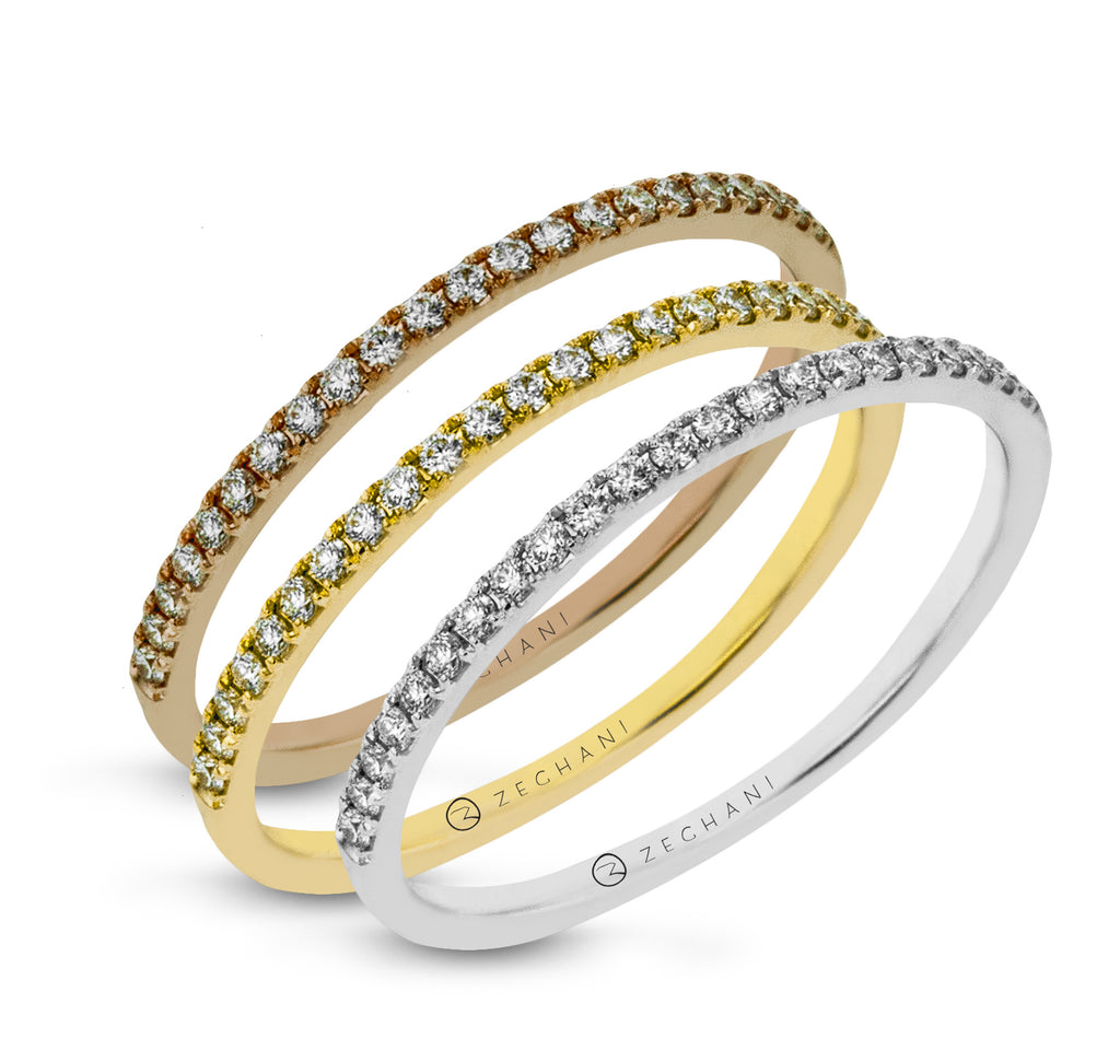14k Gold Three-Tone .39ct Diamond Stackable Rings