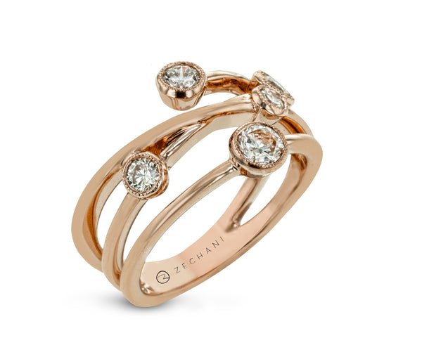 14k Rose Gold .68ct Diamond Right Hand Ring