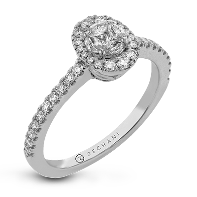 .50ct 14k White Gold Oval Halo Engagement Ring