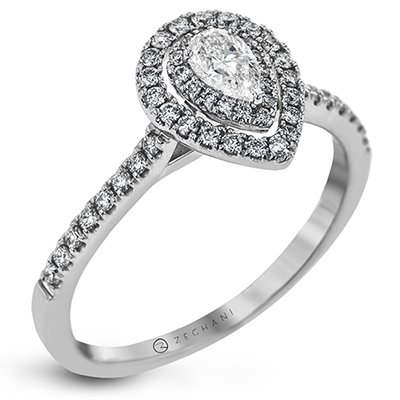 .52ct 14k White Gold Pear Halo Engagement Ring