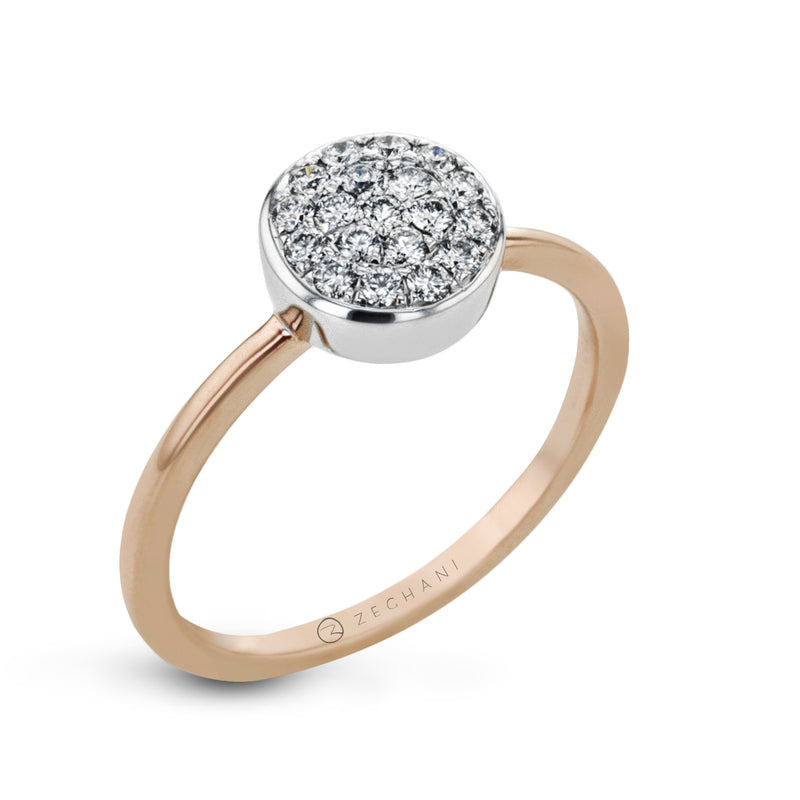 14k White and Rose Gold .27ct Diamond Right Hand Ring