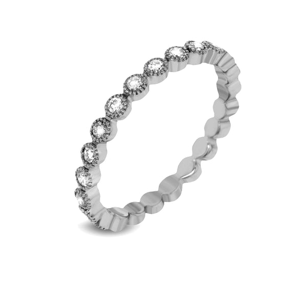 14k White Gold .41ct Diamond Stackable Ring