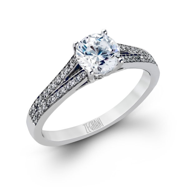 Zeghani 14k White Gold Engagement Ring 226