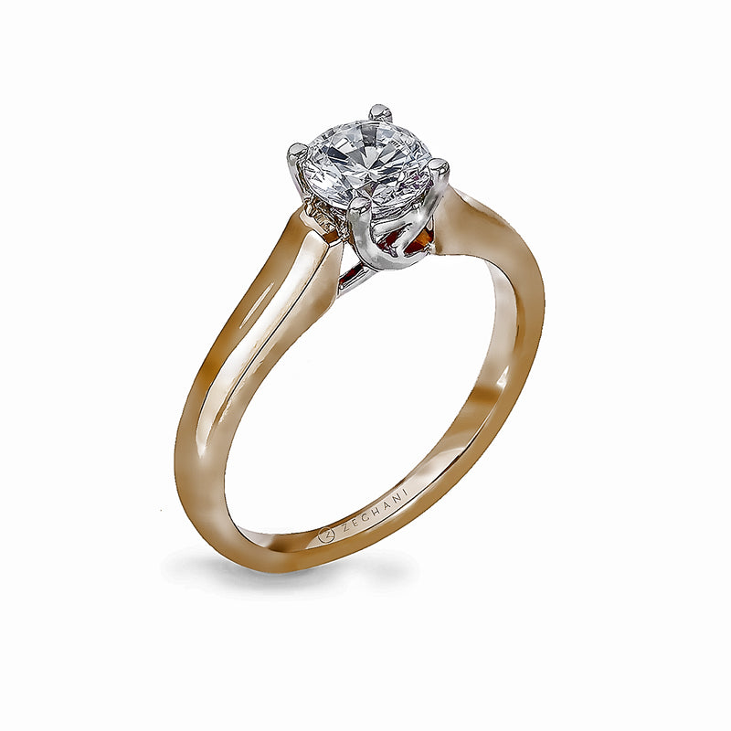 Zeghani 14k Yellow Gold Solitaire Engagement Ring 412