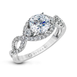 Zeghani 14k White Gold Engagement Ring 422