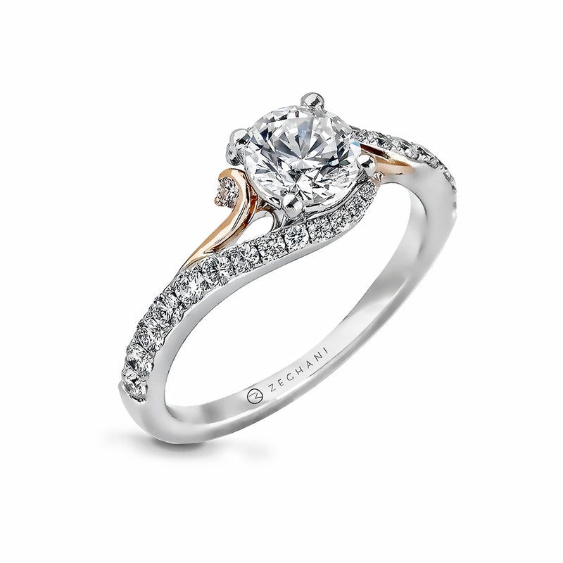 Zeghani 14k White Gold and Rose Gold Engagement Ring 874