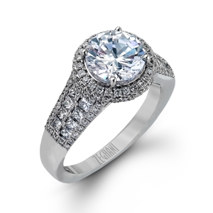 Zeghani 14k White Gold Engagement Ring 973