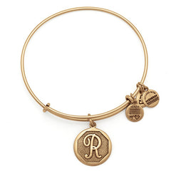 Gold Initial R Bangle