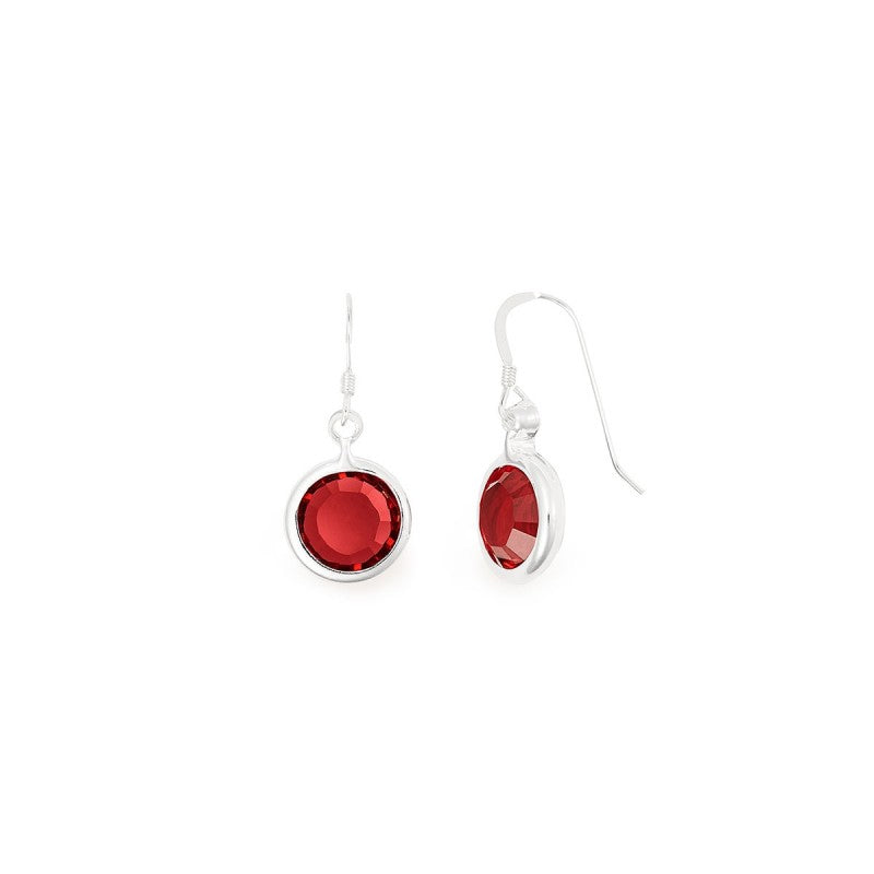Silver Swarovski January Scarlet Crystal Earrings
