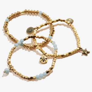 Gold Sand Dollar Stretch Set of 3 Bracelets