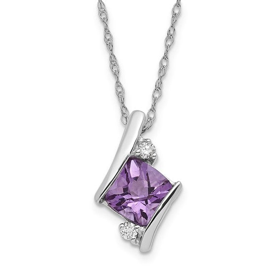 10k White Gold Amethyst and .04ct Diamond Necklace