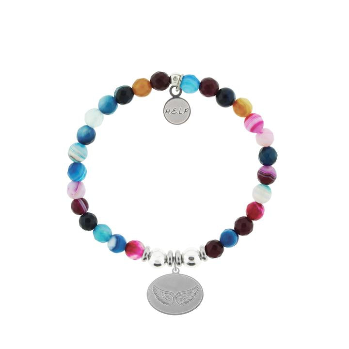 T. Jazelle HELP Silver Angel Wings Multi Color Agate Stone Bracelet