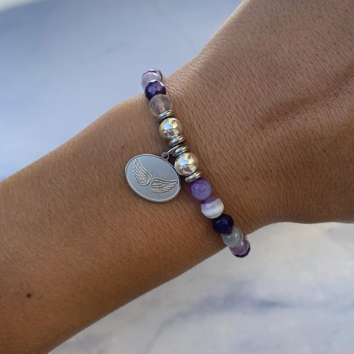 Silver Angel Wings Purple Stripe Agate Stone Bracelet