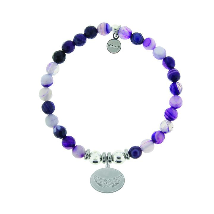 T. Jazelle Help Silver Angel Wings Purple Stripe Agate Stone Bracelet