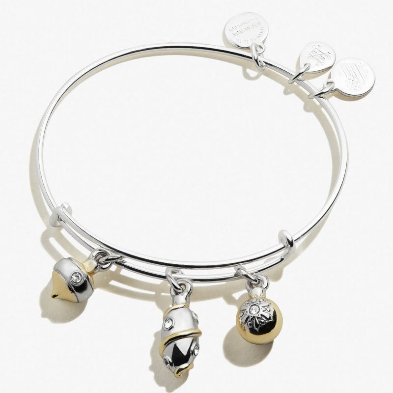 Alex and Ani Charity By Design Two Tone Trio Ornaments Bangle
