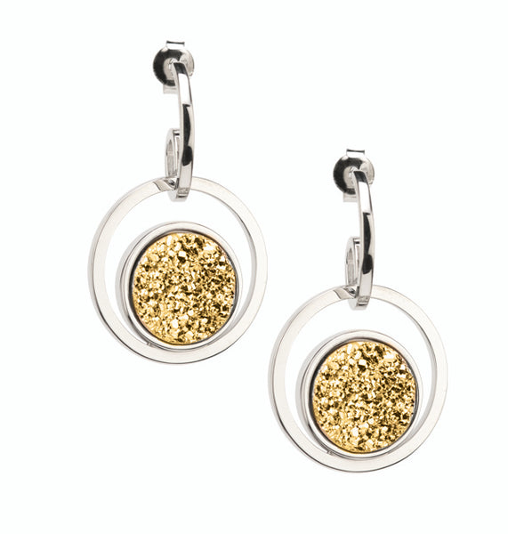 Sterling Silver Golden Drusy Circle Drop Earrings