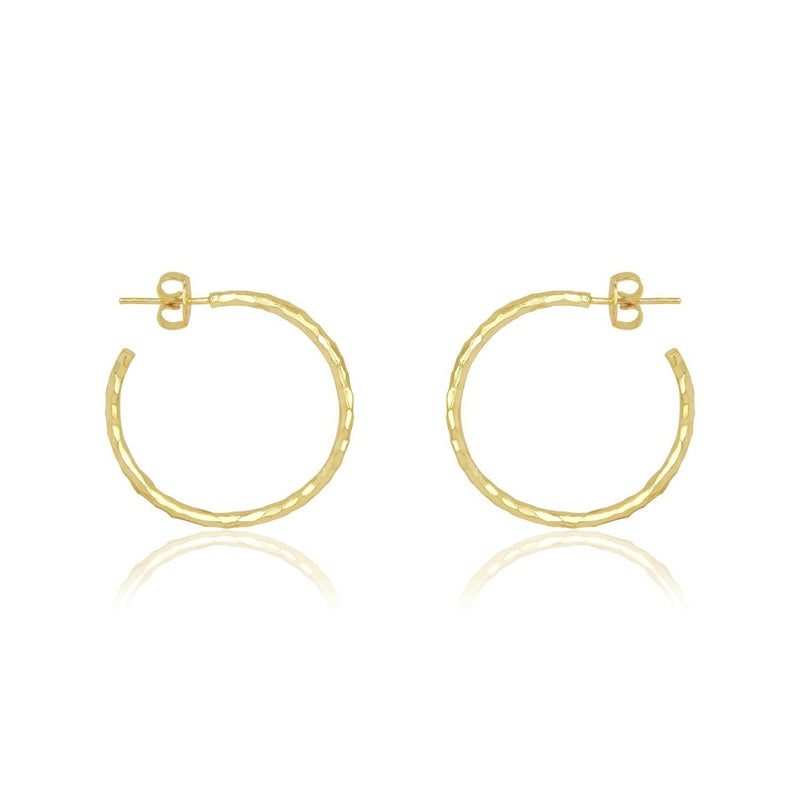 "Melinda Maria Hermes Gold 1"" Hammered Hoop Earrings"