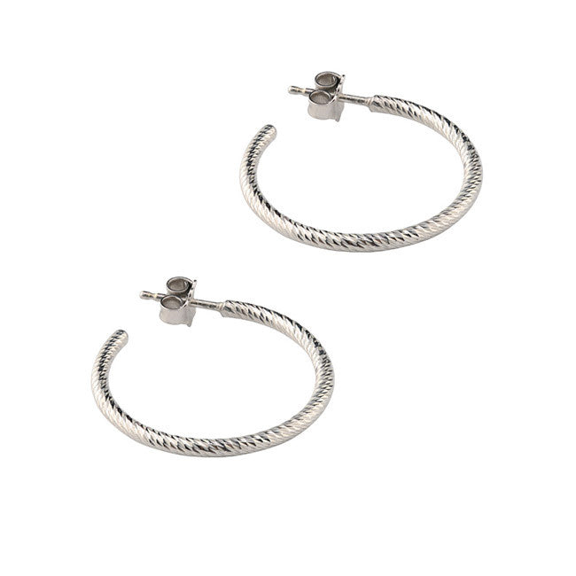 "Sterling Silver 1"" Sparkle Hoops"