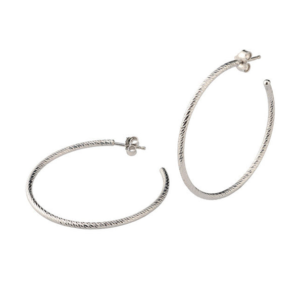 "Sterling Silver 1 3/4"" Sparkle Hoops"
