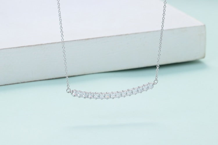 Sterling Silver Princess Diamondette Bar Necklace