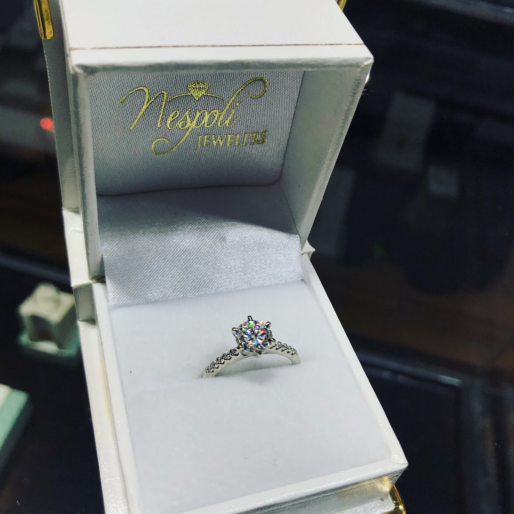 14k White Gold Moissanite 6.5mm Engagement Ring
