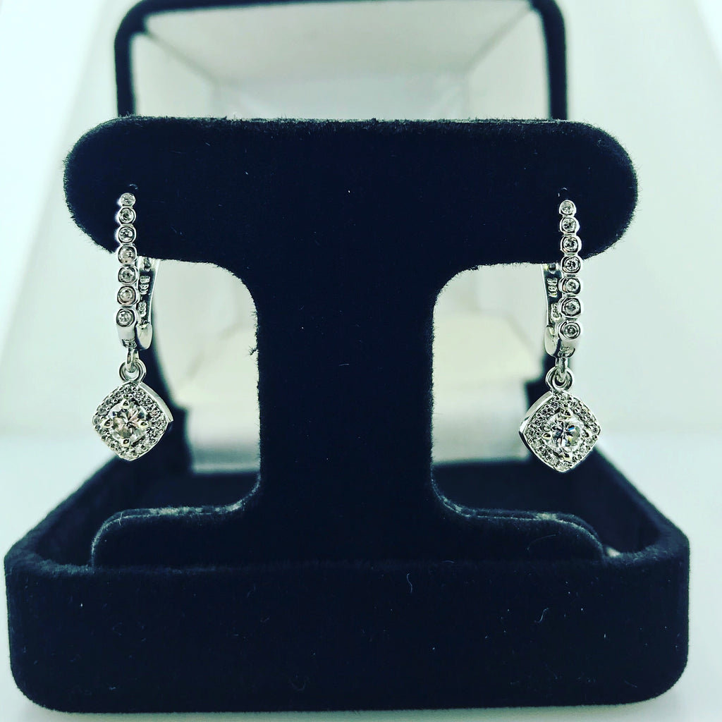 .50ct 14k White Gold Diamond Halo Lever Back Earrings
