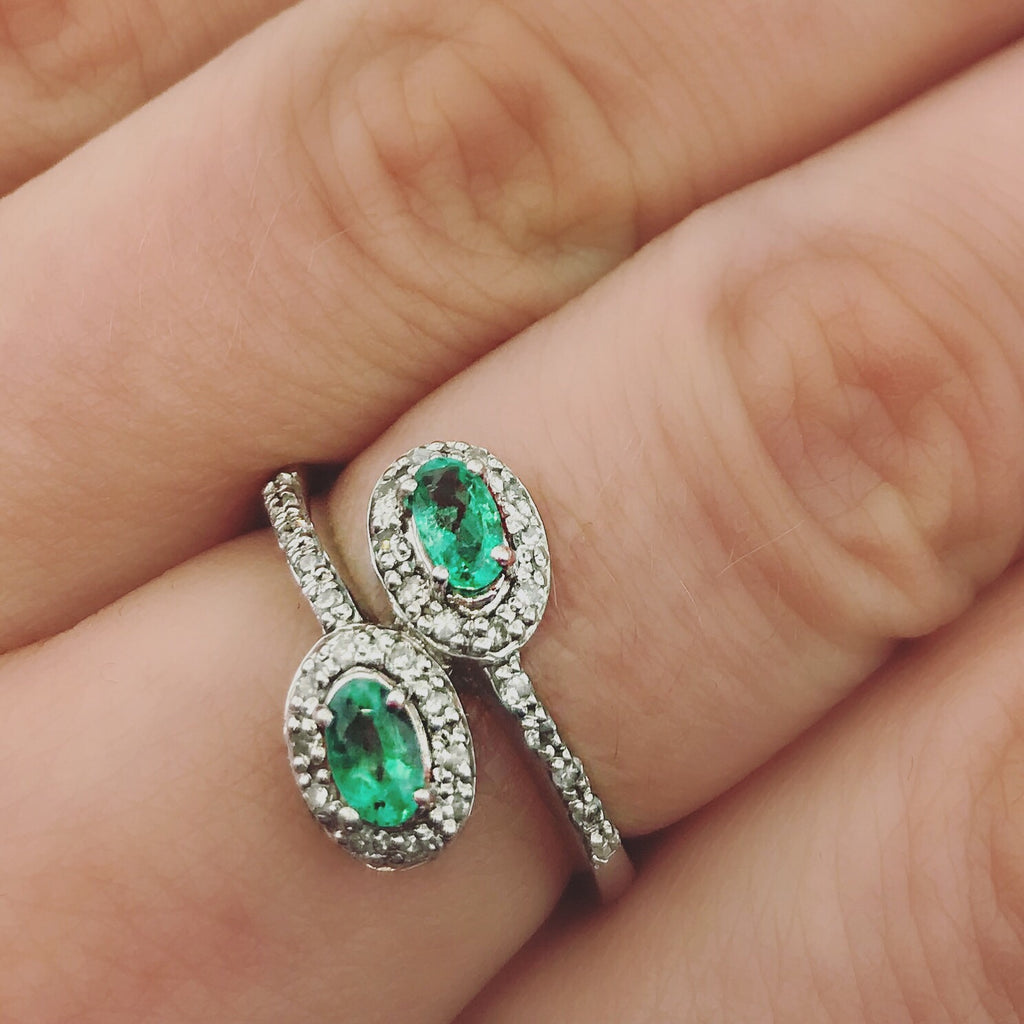 .22ct 14k White Gold Diamond and Emerald Ring