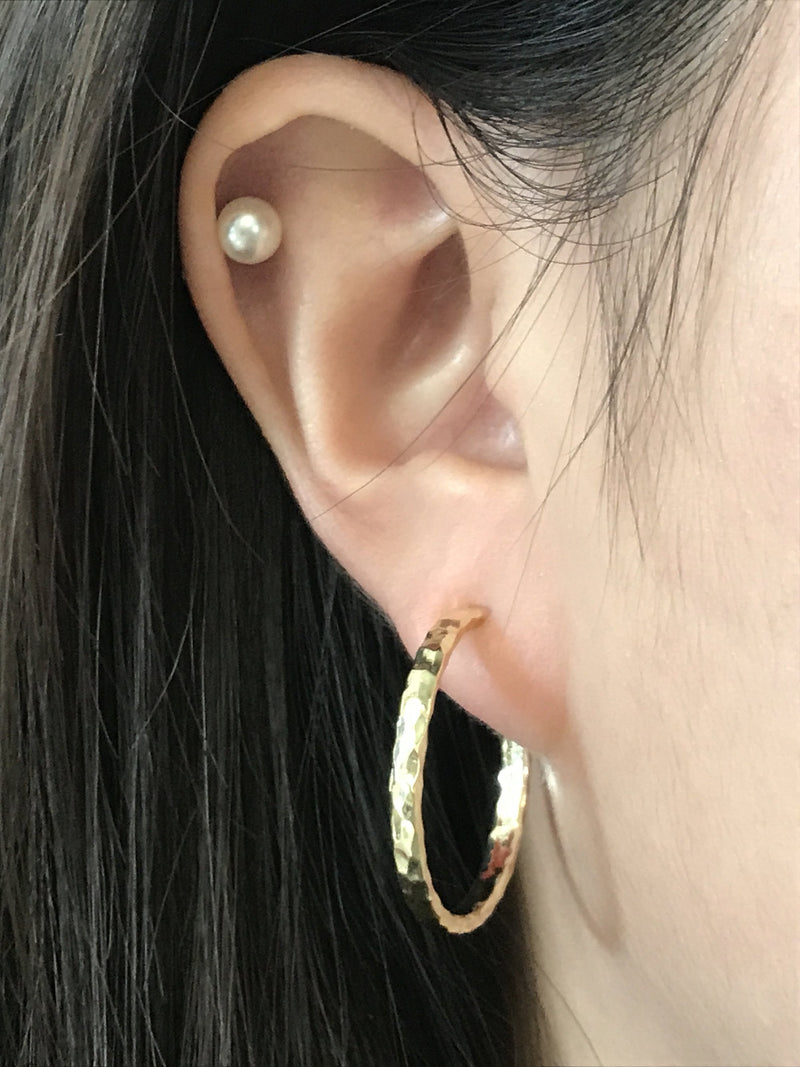 "Hermes Gold 1"" Hammered Hoop Earrings"