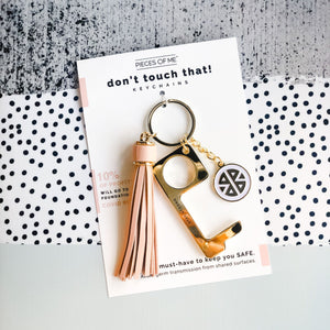 Don't Touch That! Women's Blush Pink Keychain